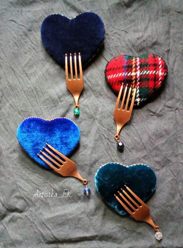 Кушать подано: необычное прочтение брошки-сердечка от Artistka_EK