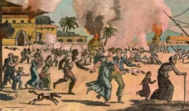 Восстание рабов, которое не удалось подавить.