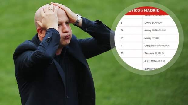 «Атлетико» опубликовал ошибочный состав «Локо»: с Негро (?!), Алексеем Миранчуком и Кверквелией, но без Зе Луиша
