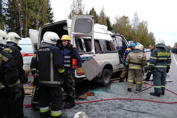 В Тверской области столкнулись автобус и маршрутка: погибли 13 человек