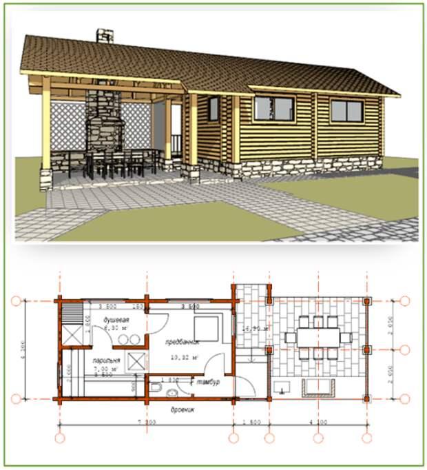 Этот проект можно использовать и для бани, и для небольшого дачного домика