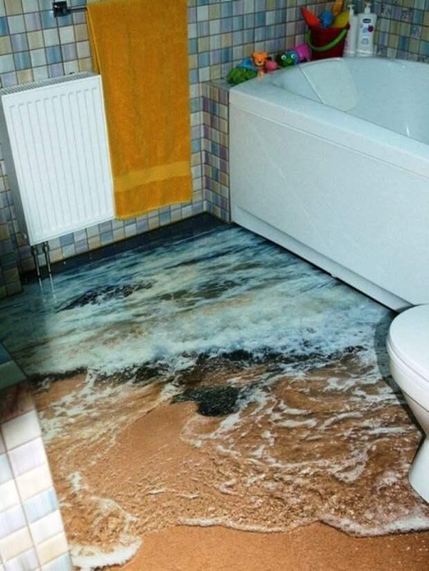 Реалистичные полы в ванной: 3Д эффект задает тон