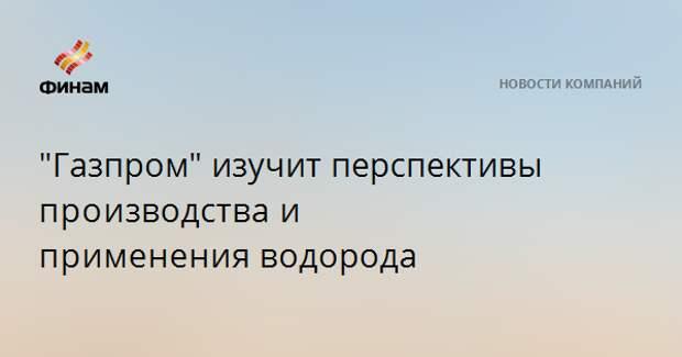 """""""Газпром"""" изучит перспективы производстваи примененияводорода"""