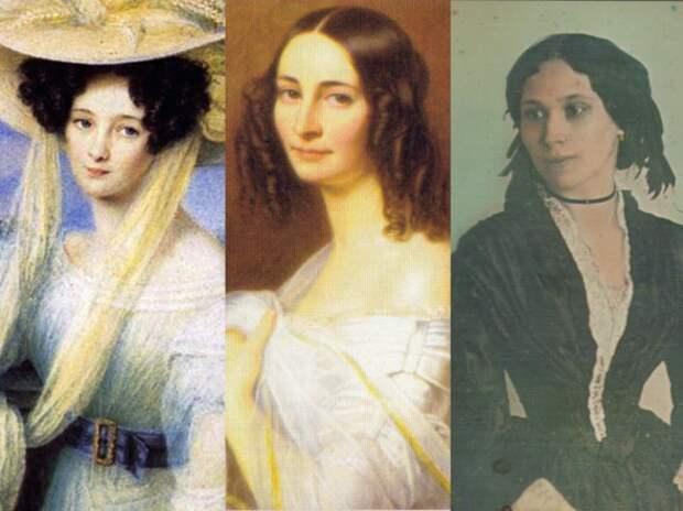 Любимые женщины Тютчева - Элеонора Ботмер, Эрнестина Пфеффель и Елена Денисьева (слева направо)