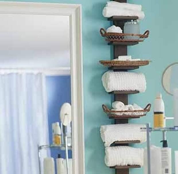 современные деревянные полки для ванной