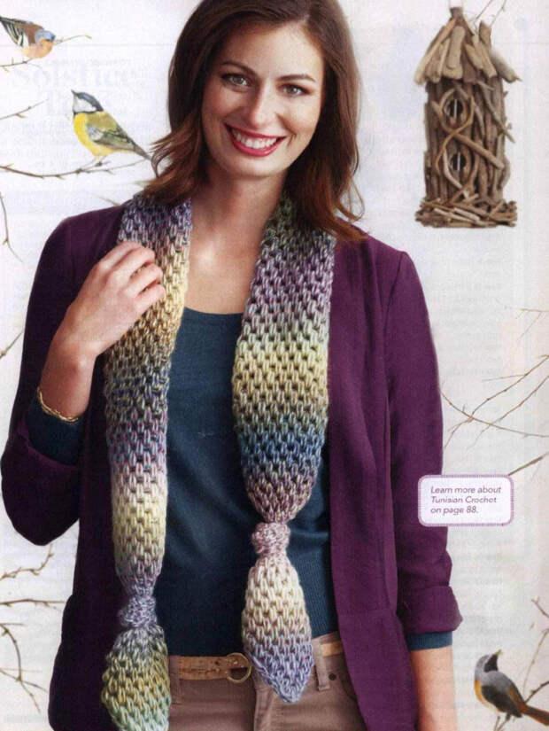 Красивейшее тунисское вязание — идеально для шарфов, пледов, снудов, шапок
