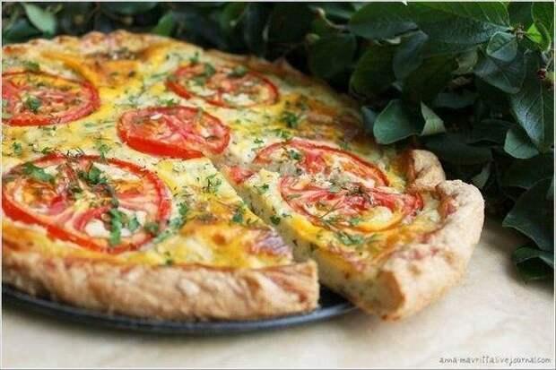 """""""Творожный пирог с сыром и томатами"""""""