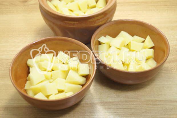 Картофель разложить по горшочкам и немного посолить.
