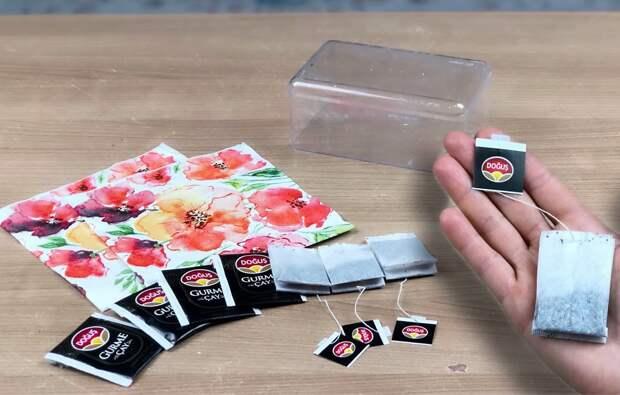 Интересное использование чайных пакетиков для декора