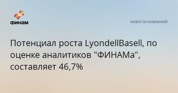 "Потенциал роста LyondellBasell, по оценке аналитиков ""ФИНАМа"", составляет 46,7%"