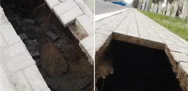 Мужчина провалился под тротуар на проспекте Назарбаева в Павлодаре (видео)