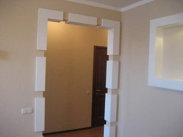 отделка дверных проемов гипсокартоном фото