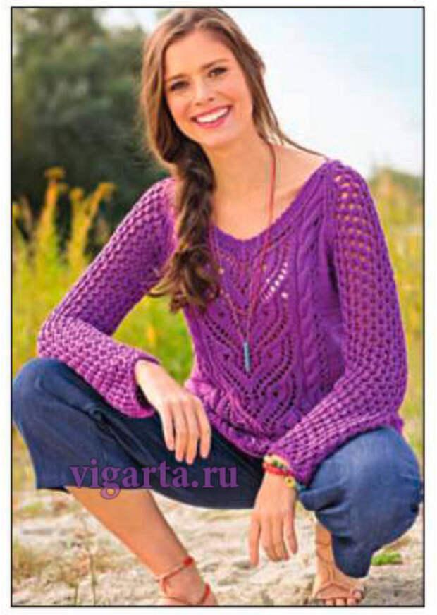 Фиолетовый ажурный пуловер