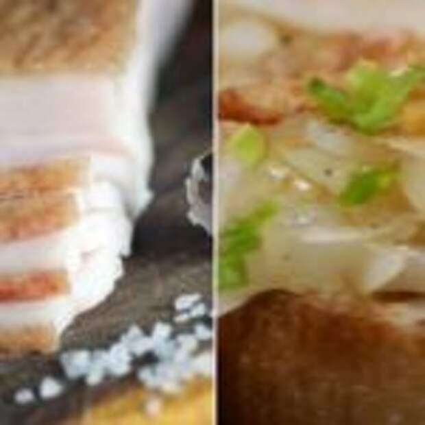 Сочные бутерброды с салом и луком