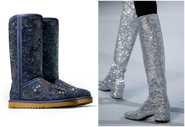 Обувь, усыпанная блестками.