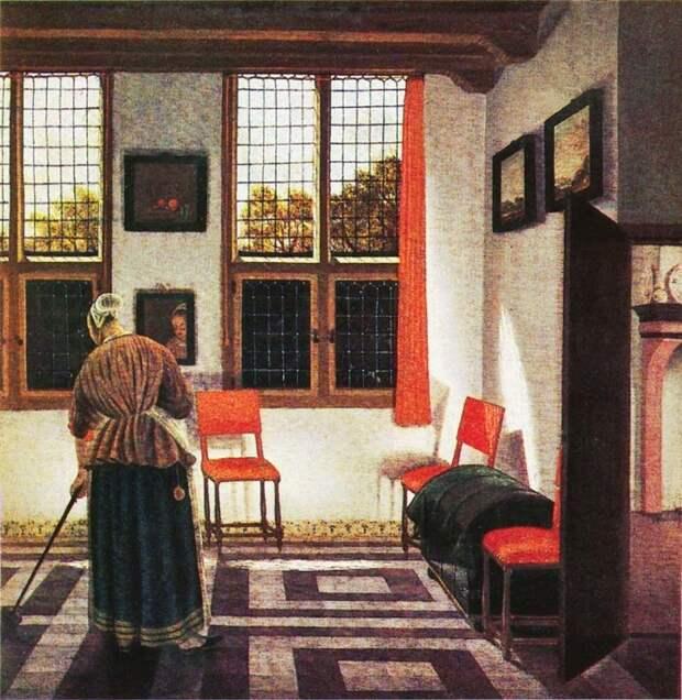 Картина Питера Янссенса. В домах бывало очень прохладно, и женщины надевали на себя много слоёв одежды.