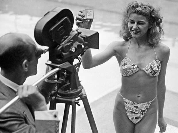 Мишель Бернардини — первая женщина, публично появившаяся вбикини. 1946.