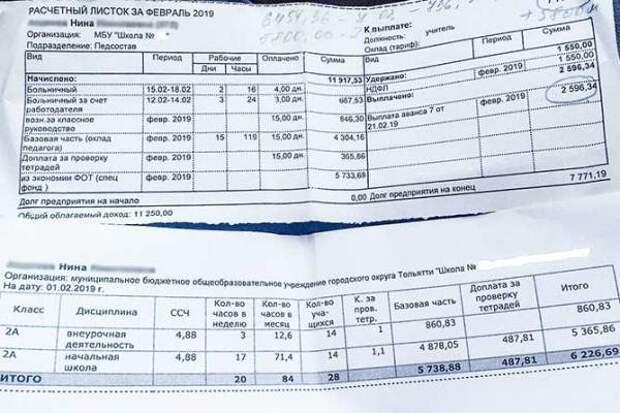 Врач и учительница из Тольятти показали свои расчётные листы