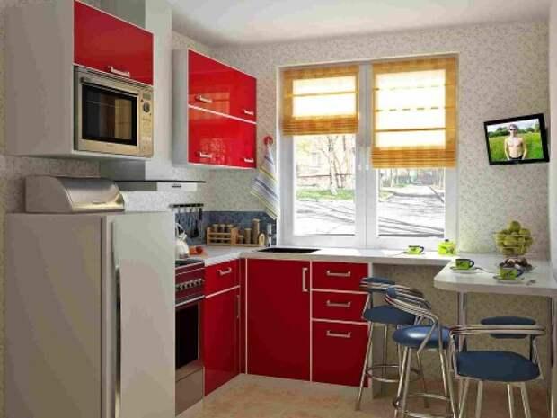 Интерьер 5 метровой кухни с подоконником-столешницей и небольшой барной стойкой