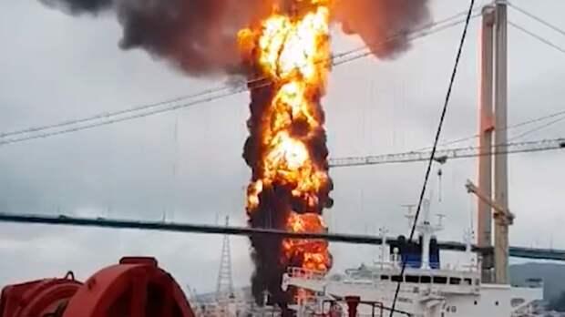 В южнокорейском порту загорелся танкер на котором находились россияне