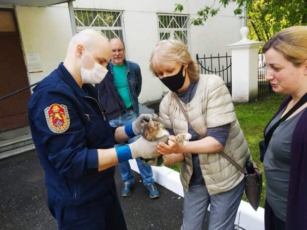 Виктор Бохан передал потерпевшего жителям/Фото предоставлено аварийно-спасательным отрядом №9