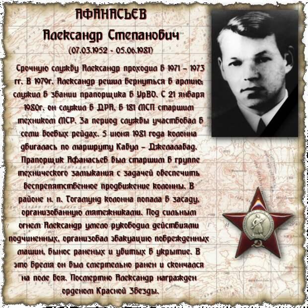Прапорщик АФАНАСЬЕВ Александр Степанович