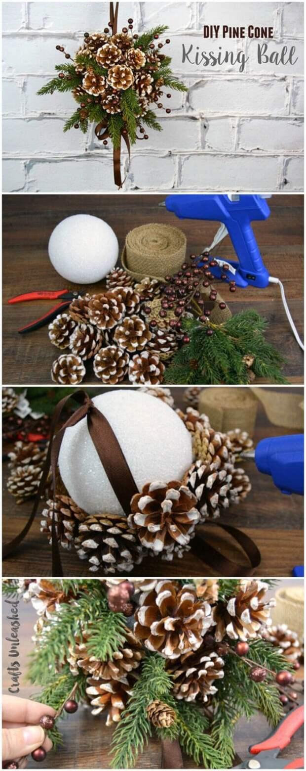 Декор из шишек к новому году и рождеству