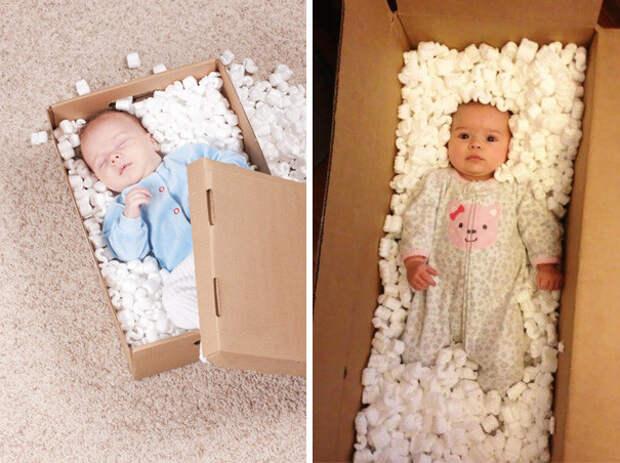 Малыш в коробке: образец и... дети, фото, юмор