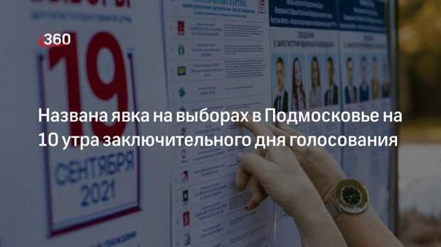 Названа явка на выборах в Подмосковье на 10 утра заключительного дня голосования