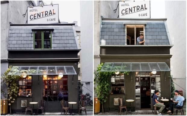 Над самой маленькой кофейней Копенгагена расположен самый крошечный отель в мире (Central Hotel & Cafe, Дания).   Фото: cremeguides.com/ andershusa.com.