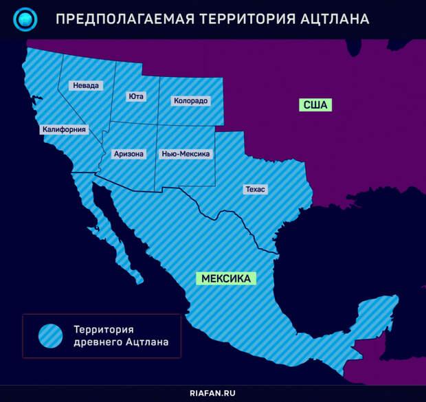 Американские штаты, расположенные на предполагаемой территории Атцлана