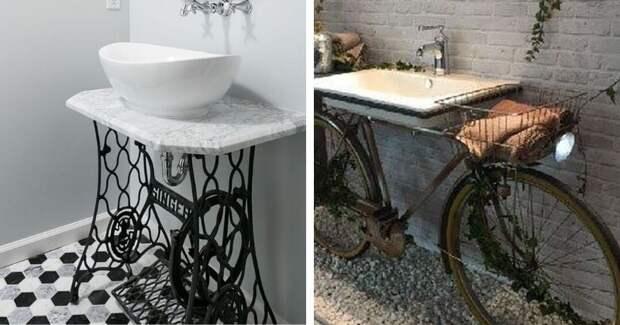 Туалетные столики в ванную из неожиданных материалов