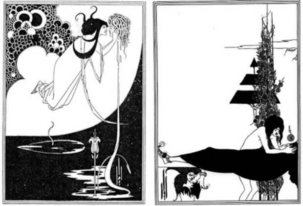 Неоднозначные иллюстрации Обри Бёрдслея: «Кульминация» и «Платоническое оплакивание». \ Фото: os.colta.ru.