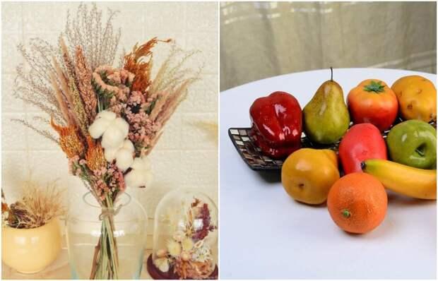 Сухоцветы и искусственные фрукты лучше заменить на живые