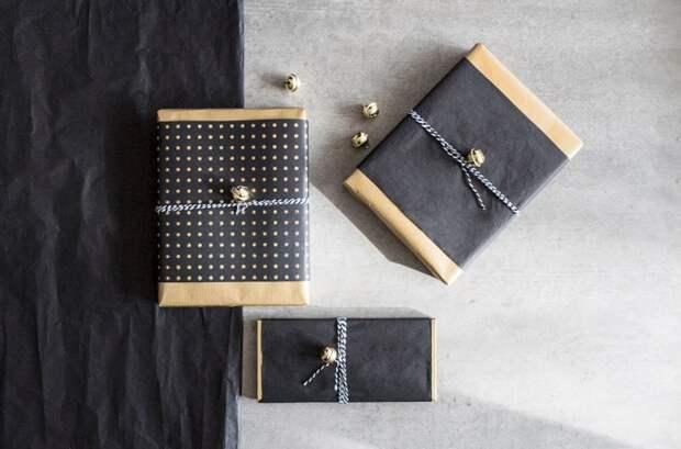 Черные упаковки подарков