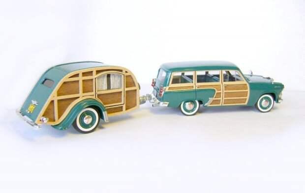 Москвич-424Э Woody с прицепом Slumbercoach авто, автодизайн, газ, запорожец, моделизм, модель, москвич, советские автомобили