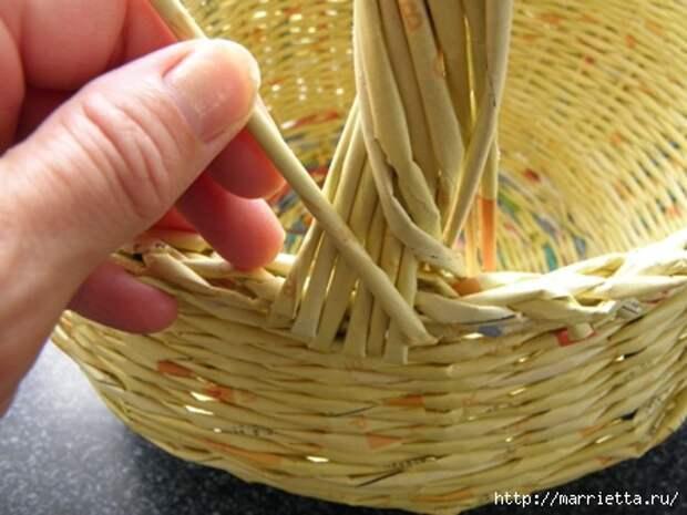 плетение из газет. корзинка из газетных трубочек (11) (448x336, 96Kb)