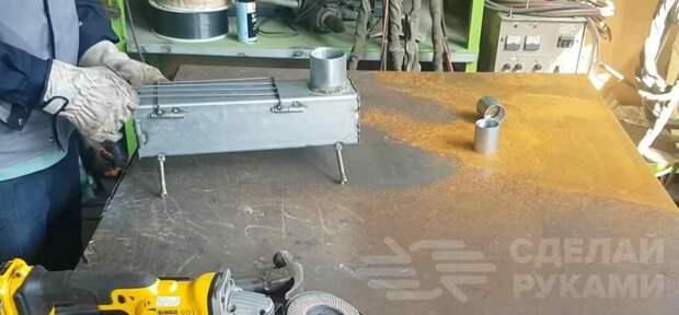 Походная дровяная мини печь из профильной трубы