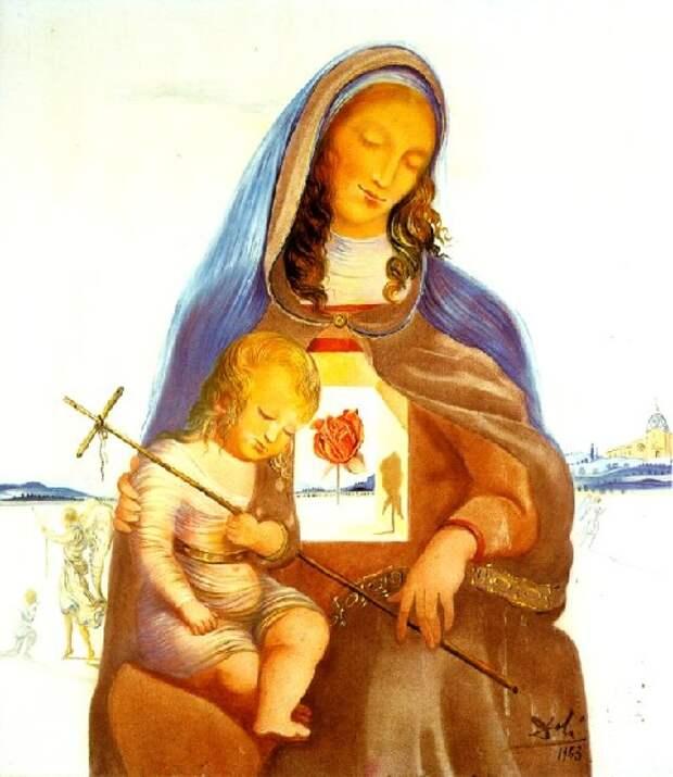 Мадонна с мистической розой. (1963). Автор: Сальвадор Дали.