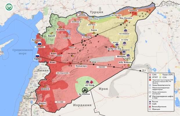 Карта военный действий в Сирии