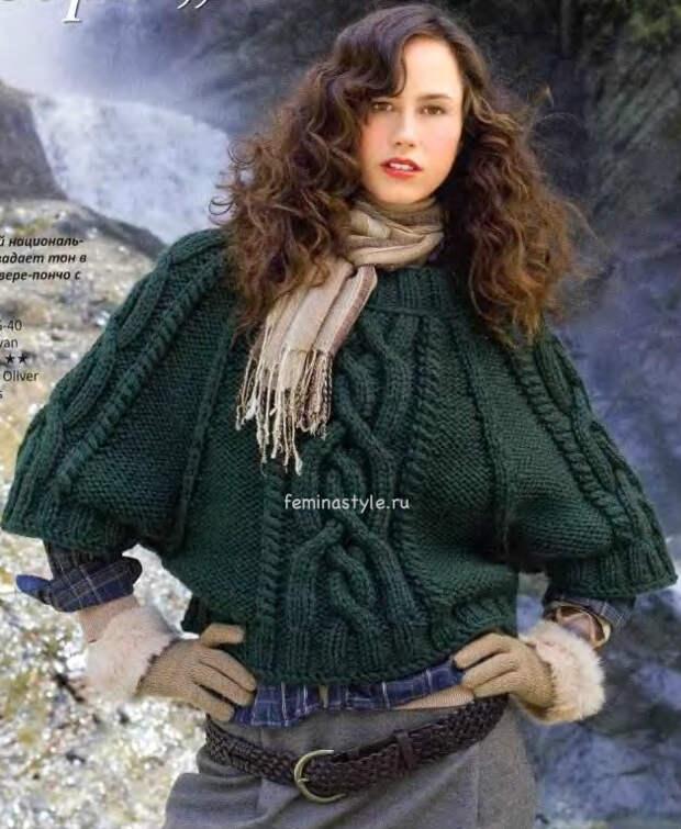 ВЯзаный пуловер-пончо с косами