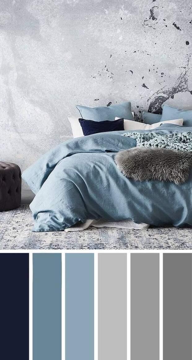 Сочетание цветов в интерьере: Голубой и серый