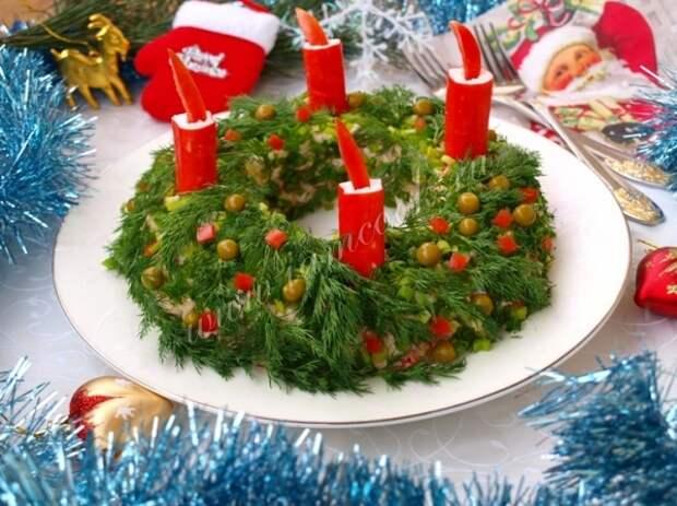 Украсить салат рождественский венок зеленью