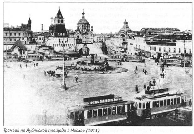 Трамвай на Лубянской площади в Москве