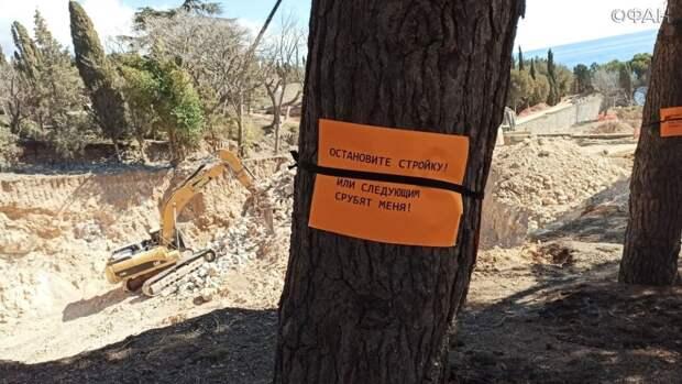 Такие листовки расклеивали активисты, выступающие против строительства