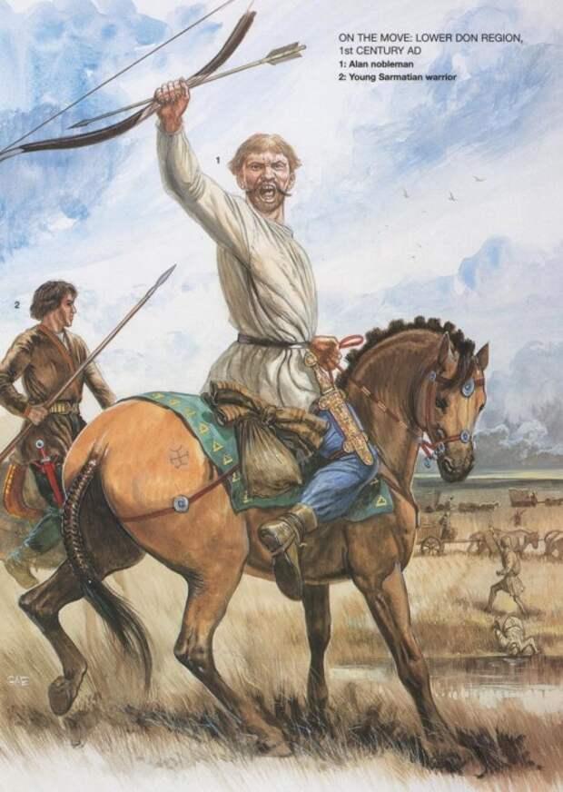 В походе (Нижний Дон, I в. н.э.): 1 - аланский нобиль; 2 - молодой сарматский воин