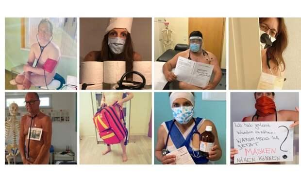В Германии врачи устроили голый протест из-за нехватки защитной одежды