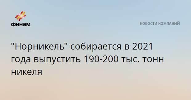 """""""Норникель"""" собирается в 2021 года выпустить 190-200 тыс. тонн никеля"""