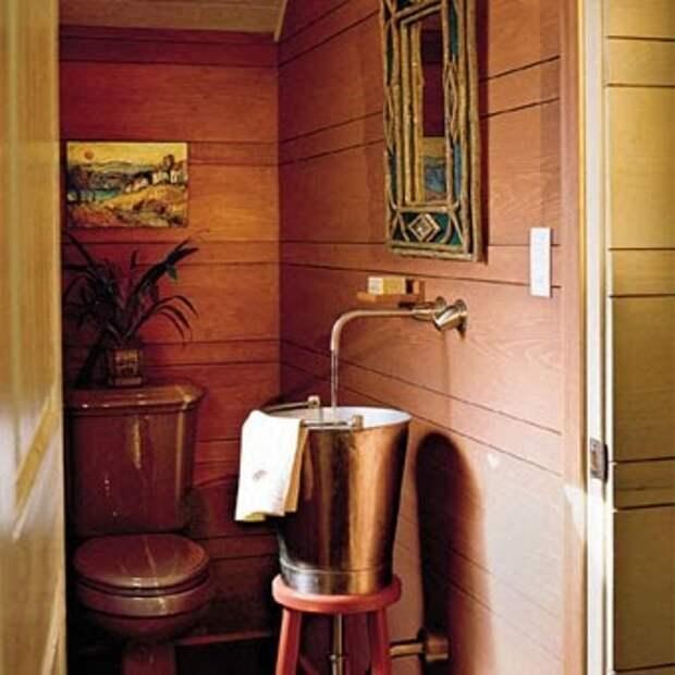 Дизайн ванной комнаты составляет единое цело со общим стилем дома