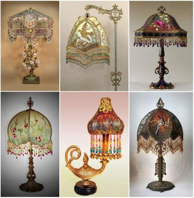 как сделать абажур своими руками?, техника изготовления абажура, винтажные настольные лампы с абажуром